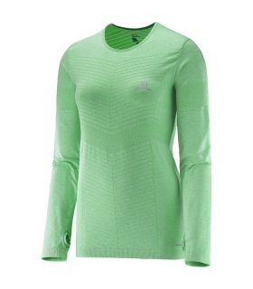 Camiseta running Salomon Elevate Seamless LS Tee Mujer Verde