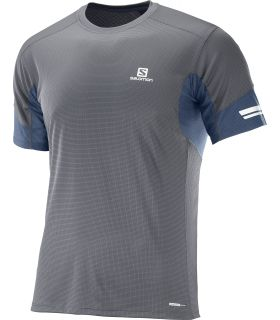 Camiseta running Salomon Agile SS Hombre Gris