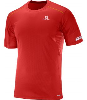 Camiseta running Salomon Agile SS Hombre Rojo Naranja