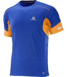 Camiseta running Salomon Agile SS Hombre Azul Naranja