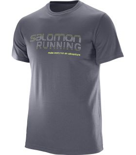 Camiseta Salomon Running Graphic Tee Hombre Gris