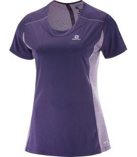 Camiseta running Salomon Agile SS Tee Mujer Morado. Oferta y Comprar online