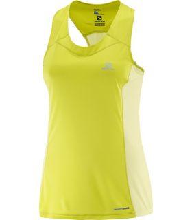 Camiseta running Salomon Agile Tank Mujer Amarillo