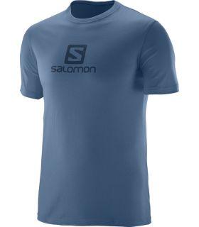 Camiseta Salomon Coton Logo SS Tee Hombre Azul Gris