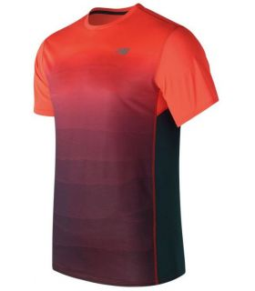 Camiseta Técnica New Balance Accelerate Short Sleve Graphic Hombre Naranja