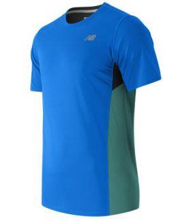 Camiseta Técnica New Balance Accelerate Short Sleeve Hombre Naranja Azul