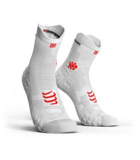 Calcetines running Compressport Run High V3 Blanco Rojo