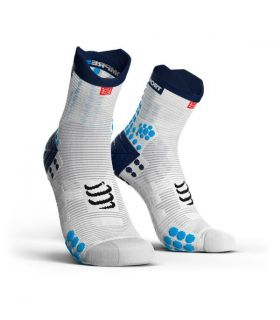 Calcetines running Compressport Run High V3 Blanco Azul. Oferta y Comprar online