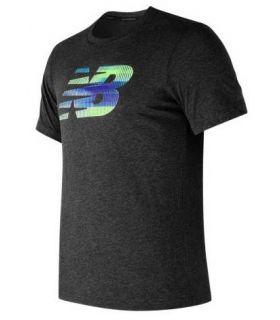 Camiseta New Balance Heather Tech NB Graphic SS Hombre Gris