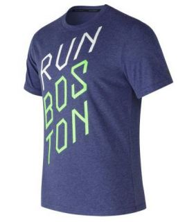 Camiseta New Balance Heather Tech Run Graphic SS Hombre Azul. Oferta y Comprar online