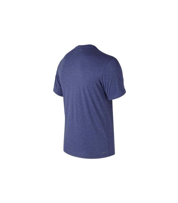 Compra online Camiseta New Balance Heather Tech Run Graphic SS Hombre Azul en oferta al mejor precio