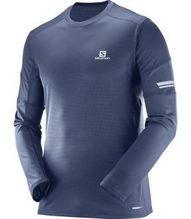 Camiseta running Salomon Agile LS Hombre Azul
