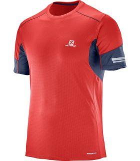 Camiseta running Salomon Agile SS Hombre Rojo Azul. Oferta y Comprar online