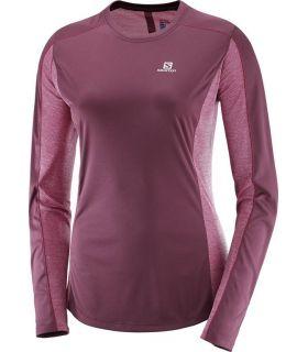 Camiseta Running Salomon Agile LS Tee Mujer Burdeos
