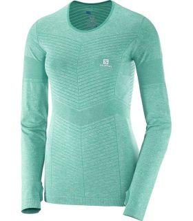 Camiseta running Salomon Elevate Seamless LS Tee Mujer Turquesa. Oferta y Comprar online