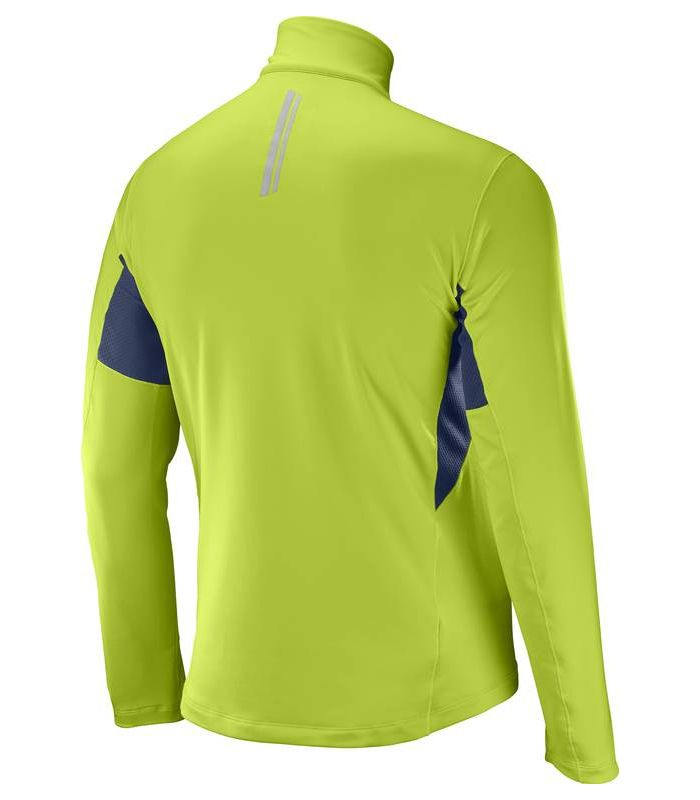 Compra online Camiseta trail running Salomon Agile Warm HZ Mid Hombre Lima en oferta al mejor precio