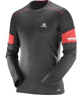 Camiseta running Salomon Agile LS Hombre Negro Rojo