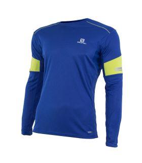 Camiseta running Salomon Agile LS Hombre Azul Verde