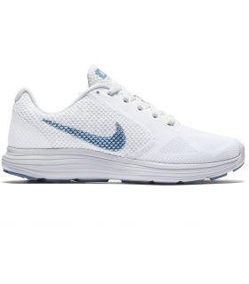 Zapatillas Running Nike Revolution 3 Mujer Blanco Azul