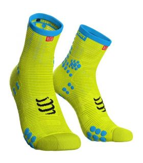 Calcetines running Compressport Run High V3 Amarillo Fluor