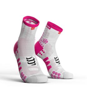 Calcetines running Compressport Run High V3 Blanco Rosa
