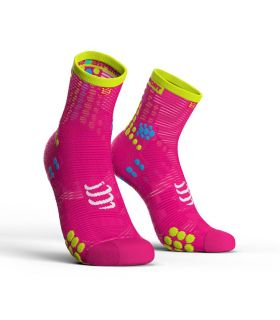 Calcetines running Compressport Run High V3 Rosa Fluor