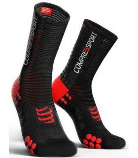 Calcetines Ciclismo Compressport Racing Socks V3.0 Negro Rojo