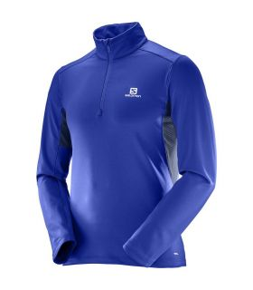 Camiseta trail running Salomon Agile Warm HZ Mid Hombre Azul
