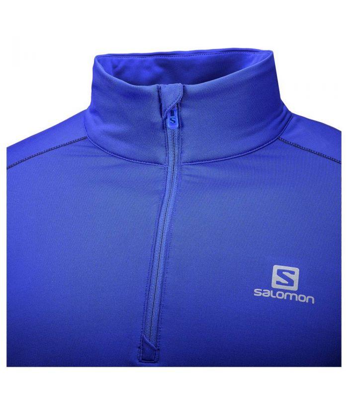 Compra online Camiseta trail running Salomon Agile Warm HZ Mid Hombre Azul en oferta al mejor precio