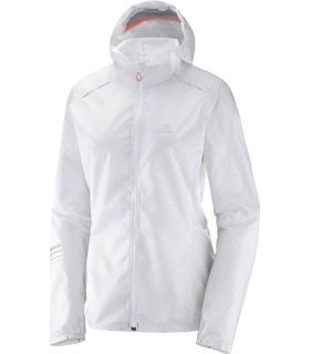 Chaqueta trail running Salomon Lightning Wind Hoodie Mujer Blanco