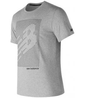 Camiseta New Balance Heather Tech NB Graphic SS Hombre Gris. Oferta y Comprar online