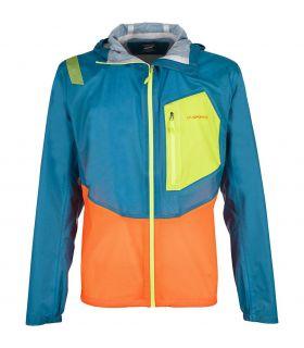 Chaqueta trail running La Sportiva Hail Hombre Azul Amarillo Naranja