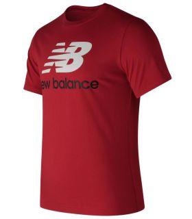 Camiseta New Balance Essentials Stacked Logo Tee Hombre Escarlata