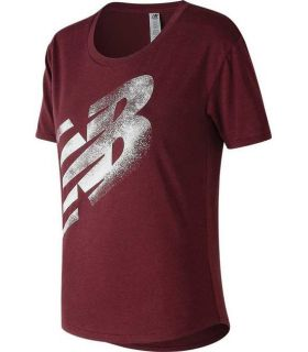 Camiseta New Balance Graphic Heather Tech Tee Mujer Granate