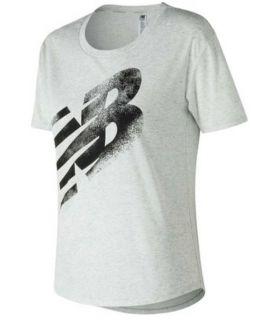 Camiseta New Balance Graphic Heather Tech Tee Mujer Blanco