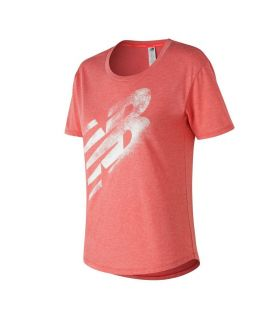 Camiseta New Balance Graphic Heather Tech Tee Mujer Rosa