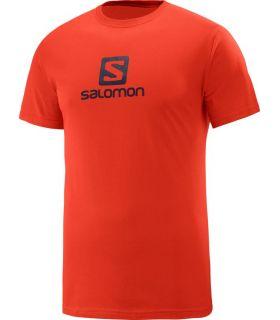 Camiseta Salomon Coton Logo SS Tee Hombre Rojo Negro
