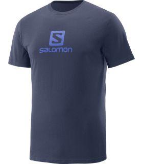 Camiseta Salomon Coton Logo SS Tee Hombre Azul Oscuro