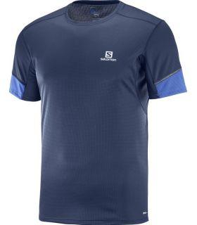 Camiseta running Salomon Agile SS Hombre Azul oscuro Azul