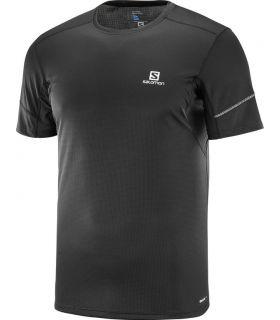 Camiseta running Salomon Agile SS Hombre Negro Liso
