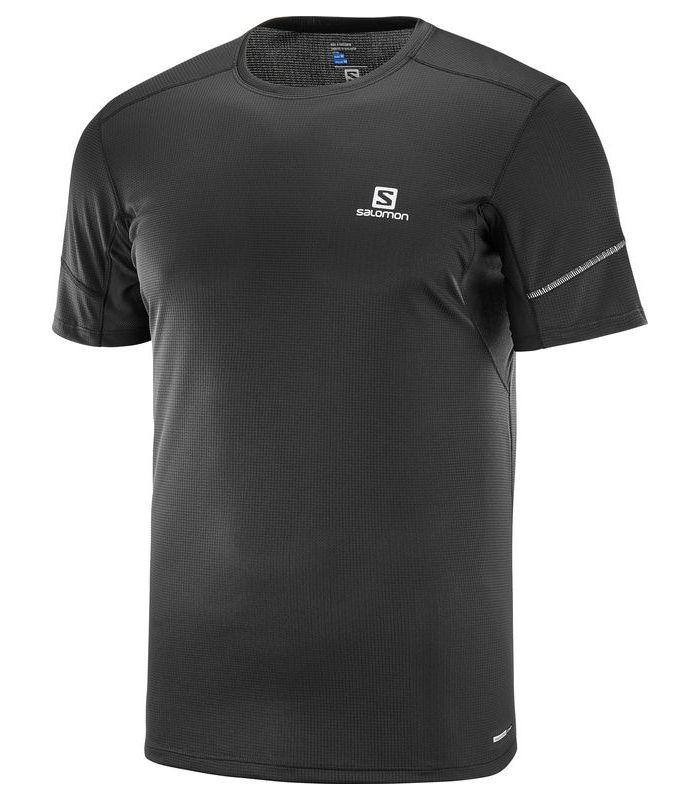Compra online Camiseta running Salomon Agile SS Hombre Negro Liso en oferta al mejor precio