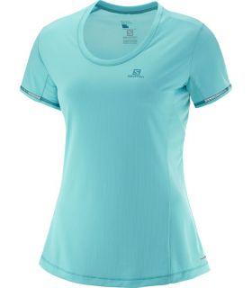 Camiseta running Salomon Agile SS Tee Mujer Azul