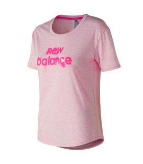 Camiseta New Balance Graphic Heather Tech Tee Mujer Rosa