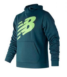 Sudadera New Balance Graphic NB CoreFleece Hoodie Hombre Azul Verde