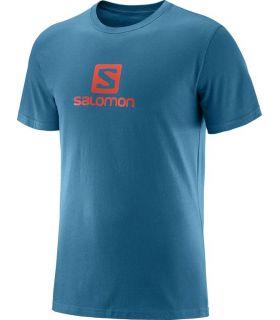 Camiseta Salomon Coton Logo SS Tee Hombre Azul Naranja