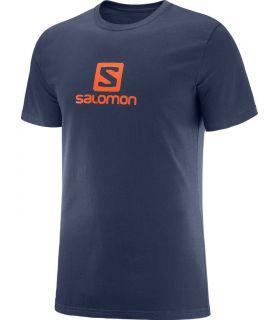 Camiseta Salomon Coton Logo SS Tee Hombre Azul Oscuro Naranja