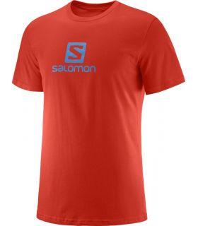 Camiseta Salomon Coton Logo SS Tee Hombre Rojo Azul