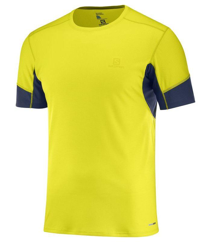 Compra online Camiseta running Salomon Agile SS Hombre Sulphur en oferta al mejor precio