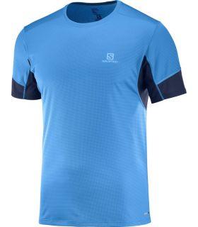 Camiseta running Salomon Agile SS Hombre Azul Hawaiian. Oferta y Comprar online