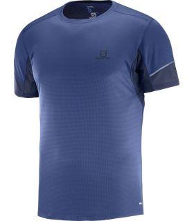 Camiseta running Salomon Agile SS Hombre Azul Medieval. Oferta y Comprar online